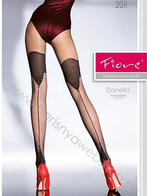 f963d40f76 20 den Fiore, DANELLA hátul csíkos, combmintás női harisnyanadrág Mintás  harisnyanadrág